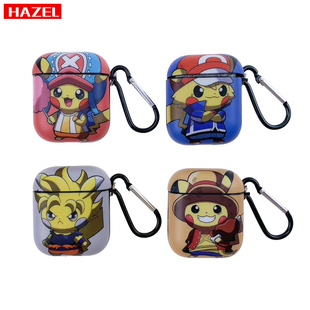Cute Pokemon <font><b>Pikachu</b></font> Earphone Headset Accessories Cartoon silicone Cover <font><b>case</b></font> For <font><b>Airpods</b></font> 1 2 Wireless Bluetooth Headset Box bag image