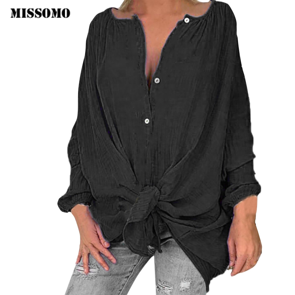 MISSOMO Plus Size Women Tops Casual Loose Chiffon Long Sleeve <font><b>T</b></font> <font><b>Shirt</b></font> Tops Women Clothes Harajuku Ladies Tops Blusas Mujer 725 image