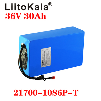 LiitoKala 21700 battery 36V 15Ah 20AH 25Ah 30Ah 500W Battery Electric Bike 36V Lithium Battery Pack with PVC Case with 30A BMS image