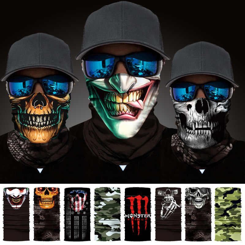 3D Seamless Bandanas Skull Neck Buffs Motorcycle Cycling Marvel Face Mask The Avengers 4 UV Headband Hiking Scarf Face Shield