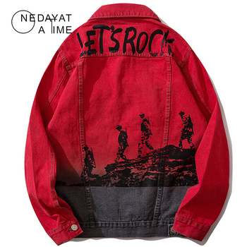 Graffiti Denim Jackets Hip Hop Mens Jean Jackets Streetwear Casual Patchwork Ripped Distressed Punk Rock Jeans Coats Red Outwear
