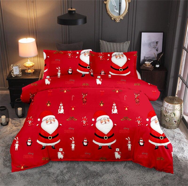 Christmas Bedding Sets Red 2/3pcs Cartoon Duvet Cover Set Santa Claus Single/Queen/King Size Bed Linen Bedclothes