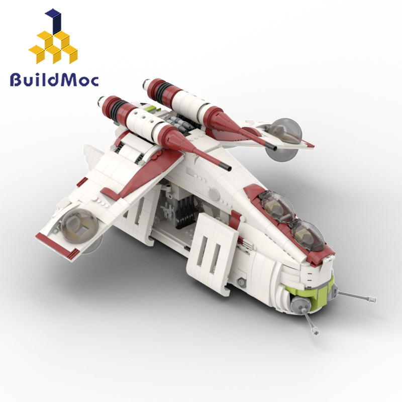 BuildMOC <font><b>05041</b></font> <font><b>Star</b></font> <font><b>Wars</b></font> UCS The Republic Gunship Tie Fighter X Wing Starfighter Building Blocks Toys Lepinblocks Starwars 75021 image