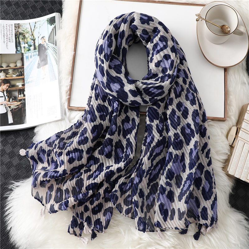 2019 Animal Print Women Scarf Fashion Tassel Cotton Warm Winter Scarves Lady Shawls And Wraps Foulard Crinkle Hijabs Headband