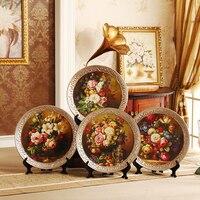 European Home Furnishing Decoration Ceramic Bowls+Shelf Crafts Set Creative Livingroom TV Cabinet Retro Figurines Arts Decor