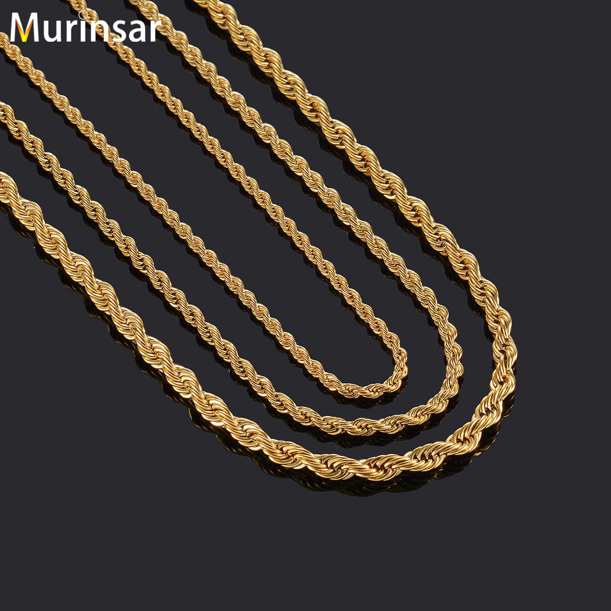 Gold Color Filled Stainless Steel Necklace Rope Chain for Men and Women Stainless Steel Chain Necklace High Quality Jewelry