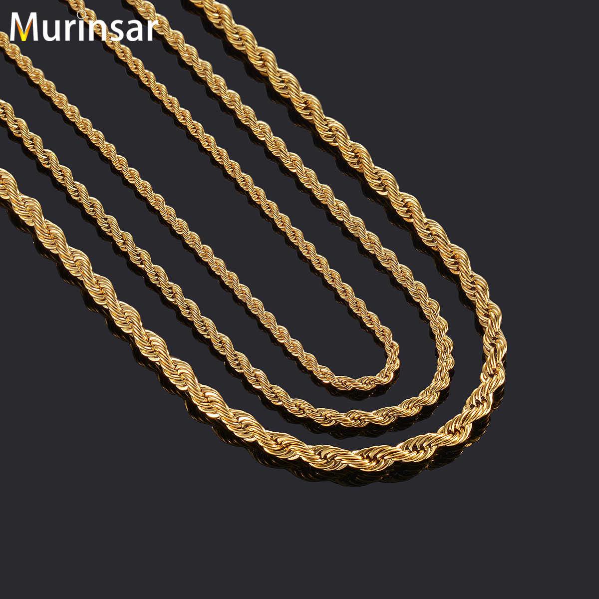 Złoty kolor wypełniony naszyjnik ze stali nierdzewnej łańcuch liny dla mężczyzn i kobiet stal nierdzewna stalowy łańcuch naszyjnik wysokiej jakości biżuteria