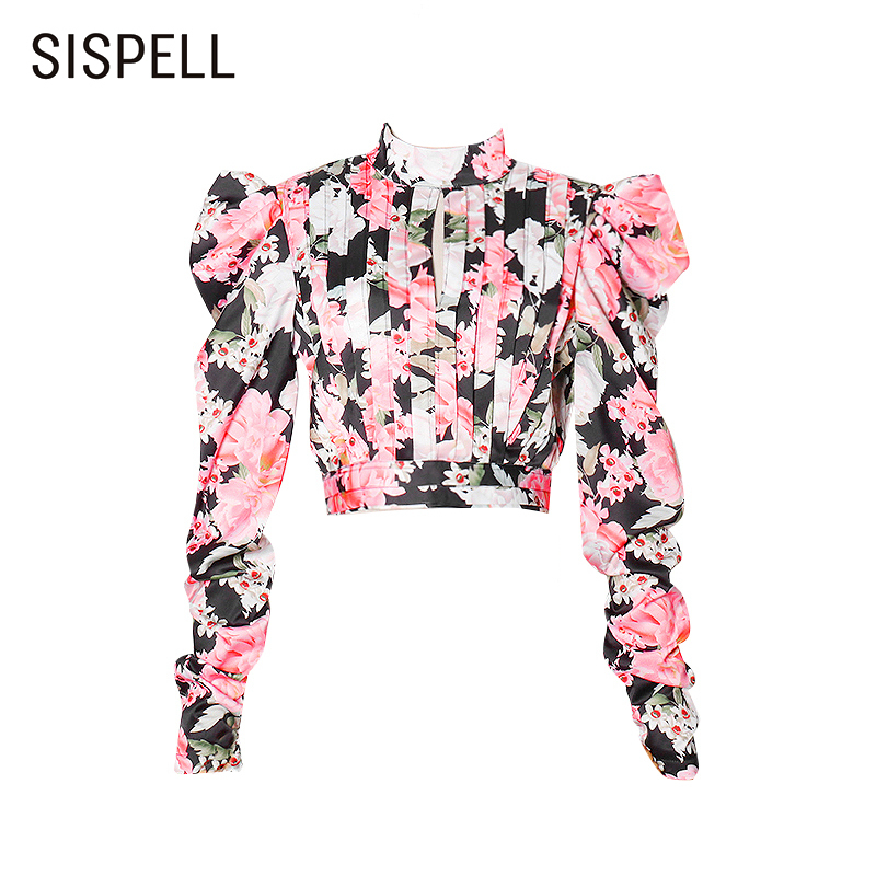 SISPELL Puff Long Sleeve Blouse Shirt For Female Stand Collar Cropped Print Hit Color Women's Vintage Shirt Fashion New Tide