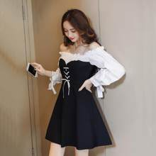 Zwart Wit Shirt Cross Vetersluiting Jurk Vrouwen off Shoulder Lace Up Strand Jurken Elegante Mini Vintage Jurk Vestido DV443(China)