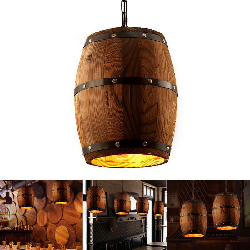 Wood Wine Barrel Hanging Fixture Pendant Lighting Suitable For Bar Cafe Lights Ceiling Restaurant Barrel Lamp Exhibition Display