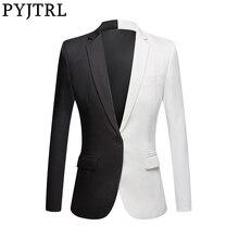 PYJTRL Chaqueta informal de moda para hombre, Blazer para cantantes de escenario, traje para fiesta, traje para graduación, color blanco, negro y rojo