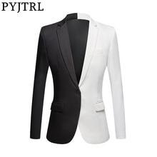 PYJTRL New Fashion biały czarny czerwony płaszcz na co dzień mężczyźni Blazers etap piosenkarki kostium Blazer Slim Fit na imprezę bal marynarkę