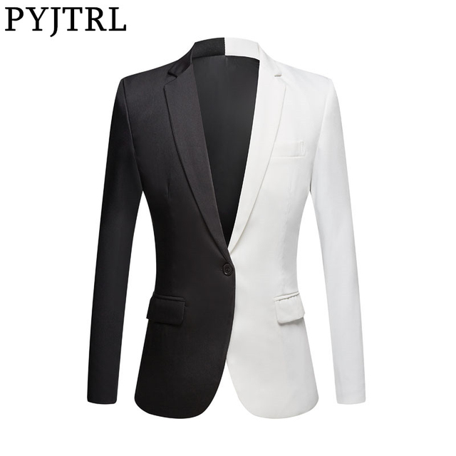Пиджак PYJTRL мужской повседневный, Модный Блейзер, приталенный, для сцены, певцов, выпускного вечера