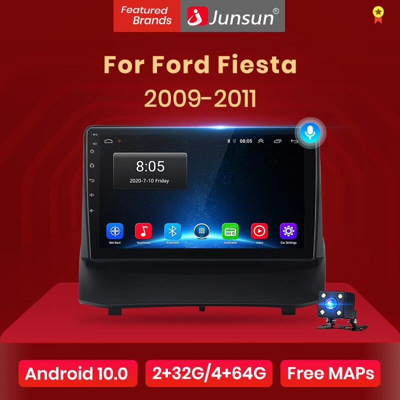 Junsun-Radio Multimedia V1 con GPS para coche, Radio con reproductor, Android 10,0, DSP, 2 GB + 32 GB, 2 din, DVD, para Ford Fiesta 2009, 2010, 2011