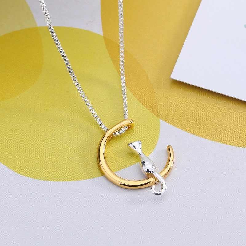 חם אופנה חתול ירח תליון שרשרת קסם כסף זהב צבע קישור שרשרת שרשרת עבור חיות מחמד מזל תכשיטים לנשים מתנות