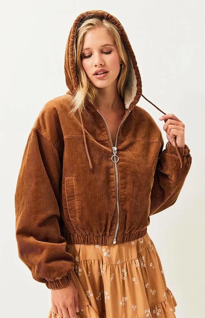 Gypsylady коричневые толстовки corduro Куртка Пальто Повседневная