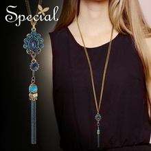 Special Fashion Chic Tassel Necklaces & Pendants AAA Zirconia Long Necklace Bohemia Maxi Necklace Jewelry Gifts for Women S2714N chic faux gemstone tassel necklace for women