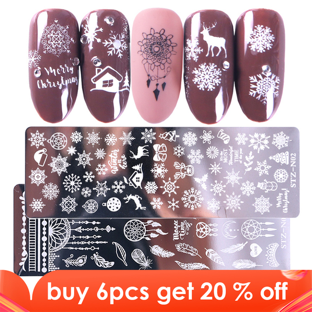 STZ Christmas Designs Nail Stamping Plates Snowflakes Deer Gift Nail Art Stamp Templates Stencils Polish Manicure Tools STZ N/BE