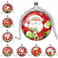 2019 Nuovo di Modo di Bellezza Buon Natale Rotonda Foto di Vetro Cabochon Collana Di Natale di Vetro Cabochon Collana Regalo