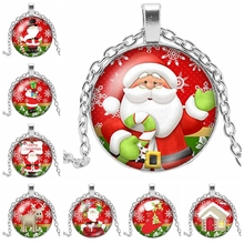 2019 New Beauty Fashion Merry Christmas Round Photo Glass Cabochon Necklace Gift