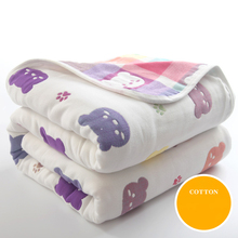 150*120cm 6 Layers 100% Cotton Summer Child's Quilt Baby Comforter Quilts Soft Baby Blankets Cotton Bath Towel Breathable Thin