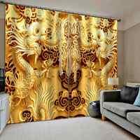 3D الرقمية طباعة الستائر الذهبي التنين الستار لغرفة المعيشة غرفة نوم ستائر التعتيم
