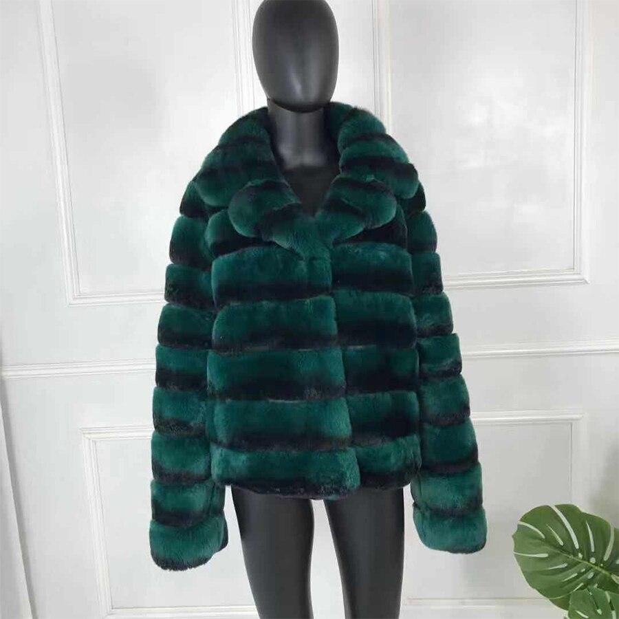 2019 nouvelle mode rex manteau de fourrure de lapin manches complètes chinchilla couleur haute qualité 100% véritable Rex fourrure de lapin