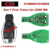 Cg cgdi mb ser chave pro 315mhz/433mhz chave inteligente escudo 3 botão para benz com logotipo obter 1 token livre para cgdi mb programador chave