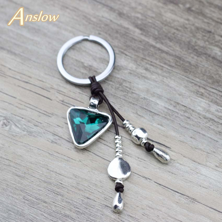 Anslow Brand Wholesale Jewelry Discount Triangle Crystal Charms Keychains For Women Girls Bag Key Accessories Friends LOW0014KY