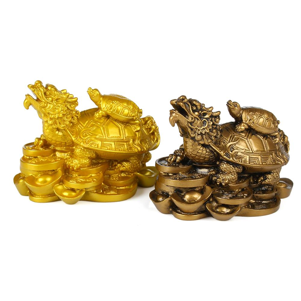 KiWarm Traditiodnal Gold Resin Feng Shui Dragon Turtle Tortoise Statue Figurine Coin Money Wealth Ornaments For Home Office
