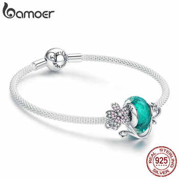 BAMOER Authentic 925 Sterling Silver Daisy Flower Green Glass Beads Strand Charms Bracelets for Women 925 Silver Jewelry SCB822 - DISCOUNT ITEM  30 OFF Jewelry & Accessories