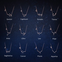 WOSTU 2019 Women 12 Constellation Silver 925 Sterling Rose Gold Necklaces Pendants Long Chain Choker For Women Jewelry