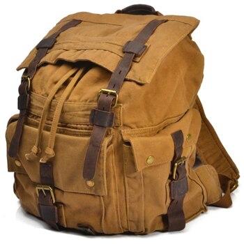 Vintage Leather Military Canvas travel Backpacks Men &Women School Backpacks men Travel bag big Canvas Backpack Large bag цена 2017