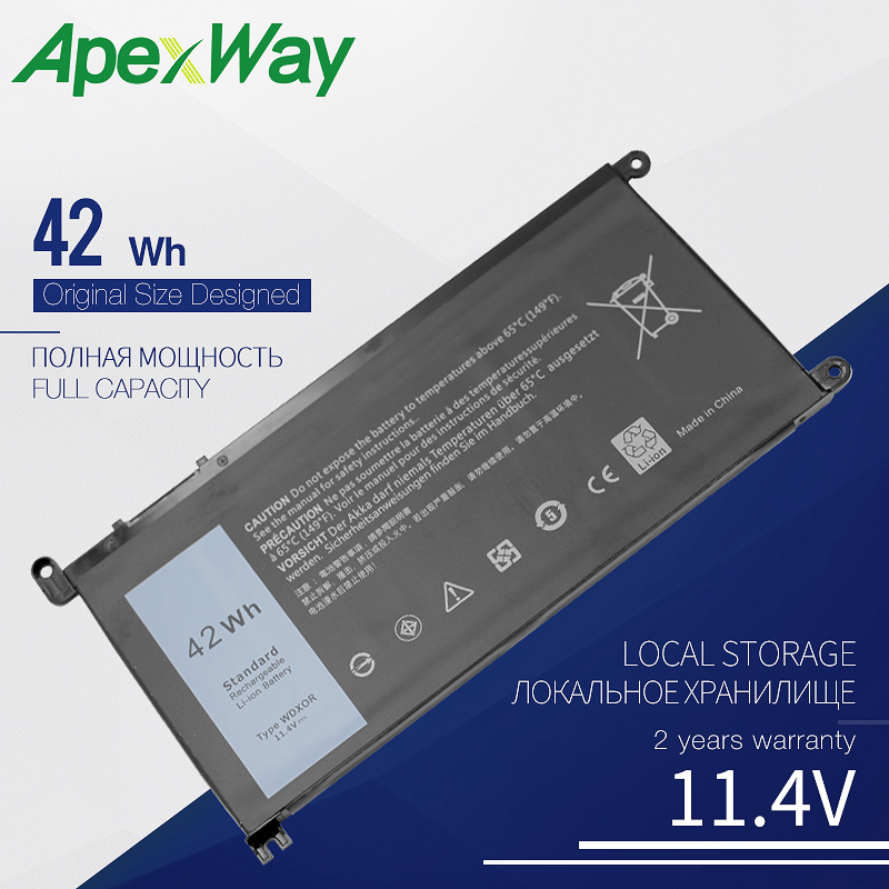 11.4V Laptop Battery For Dell WDXOR WDX0R T2JX4 INS 13MF-2505T 15MF-1508TA For Inspiron 13 5368 15 5568 VOSTRO 14 5468 15 5568