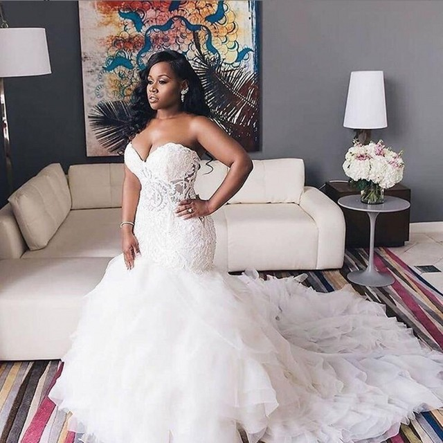 2020 African Wedding Dresses Sweetheart Lace Mermaid Plus Size Bridal Gowns Lace Up Tiered Sweep Train Wedding Vestidos 2