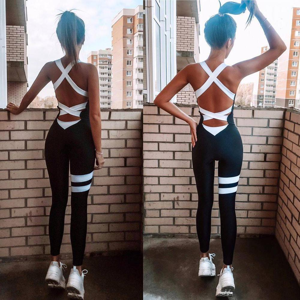 Active Women Yoga Jumpsuit Workout Clothes One Piece Sports Pants Sexy Backless Tracksuit Mujer Fitness Running