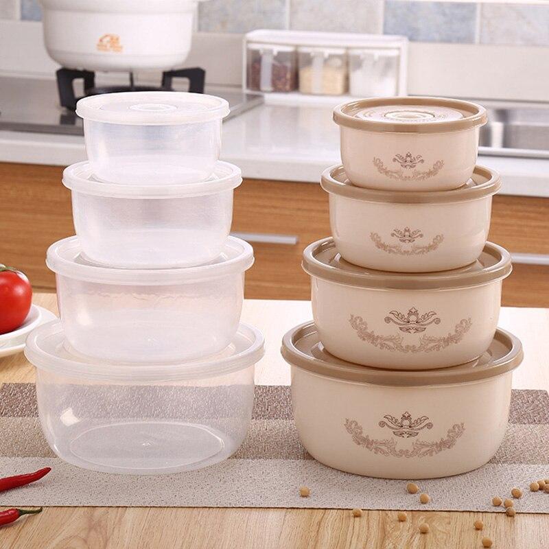 4pcs/set Round Plastic Food Container Refrigerator Crisper Box Kitchen Vegetable Preservation Organize @