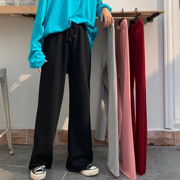 H553cc9b169164d1cbc21d5271b7829bbc - Autumn / Winter High Waist Elastic Broadcloth Straight Solid Pants