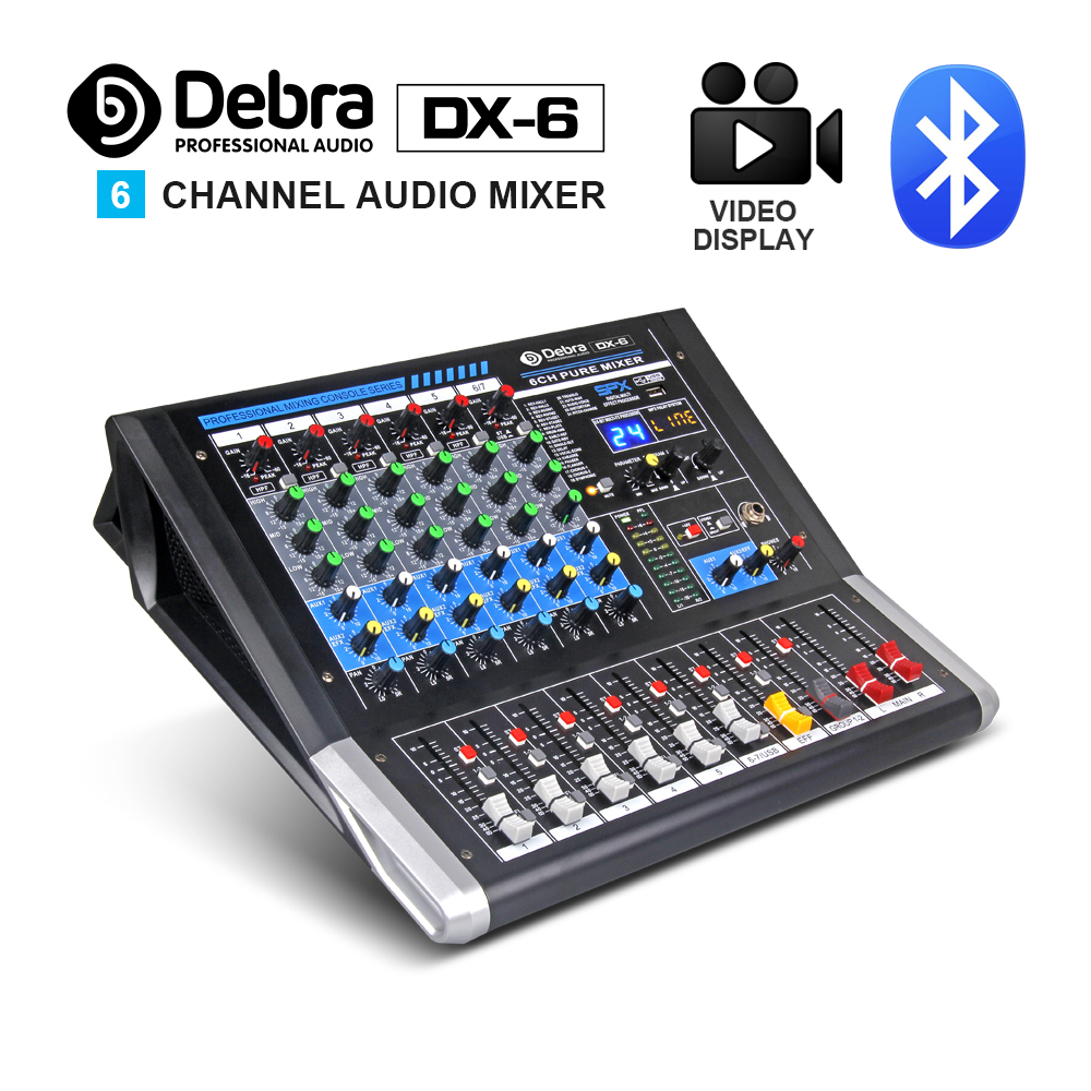 Debra Audio DX 6 6 Channel Audio Mixer dj controller Sound Board with 24 DSP Effect