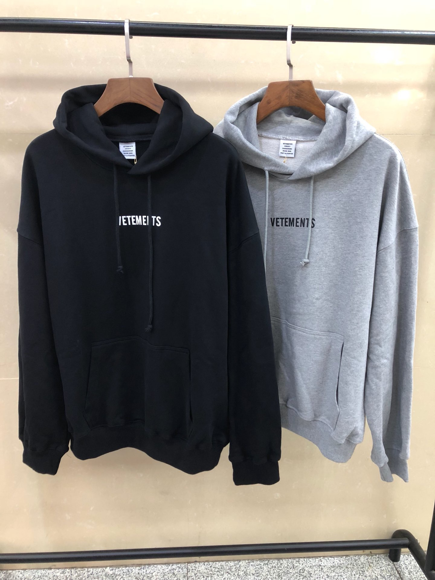 2020 Vetements Logo Embroidery Washing Label Sitiching Women Men Unisex Hoodies Sweatshirt Hiphop Oversized Men Hoodie Pullover