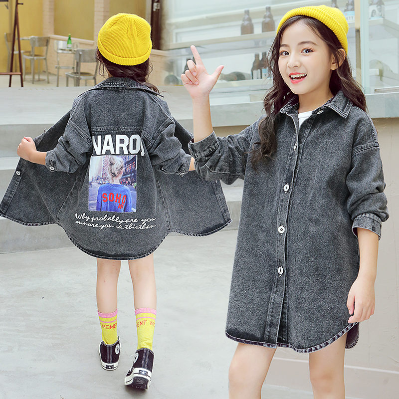 Long Kids Black Denim Jean Jacket For Girls Cool Sleeves Plus Size Spring Autumn Outerwear