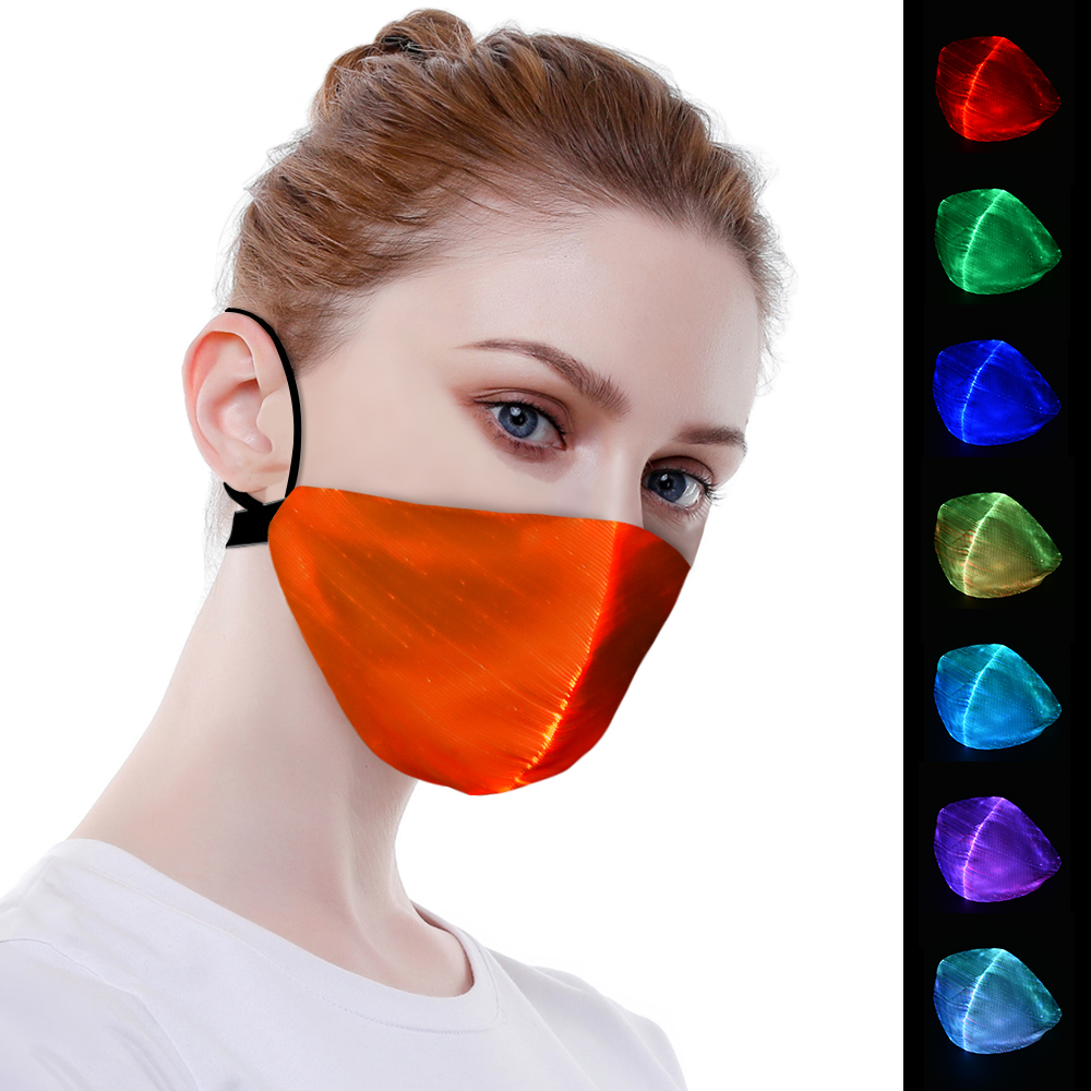 Halloween clignotant masque LED 7 couleur LED lumineuse masque Halloween fête danse DJ décor USB charge Halloween allumer masque