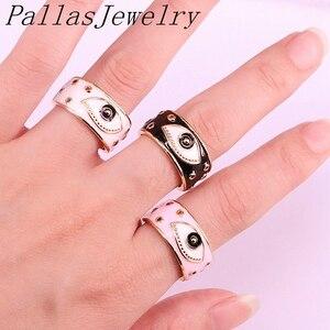 Image 4 - 10Pcs Goud Kleur enamel eye Verstelbare Ringen Voor Vrouwen Meisje Mode CZ Ring Partij Sieraden Trendy Gift Ring