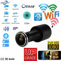 Wizjer Hole Security 1080P HD Onvif 1.78mm obiektyw szerokokątny FishEye CCTV Network Mini wizjer do drzwi WifI P kamera P2P TF Card