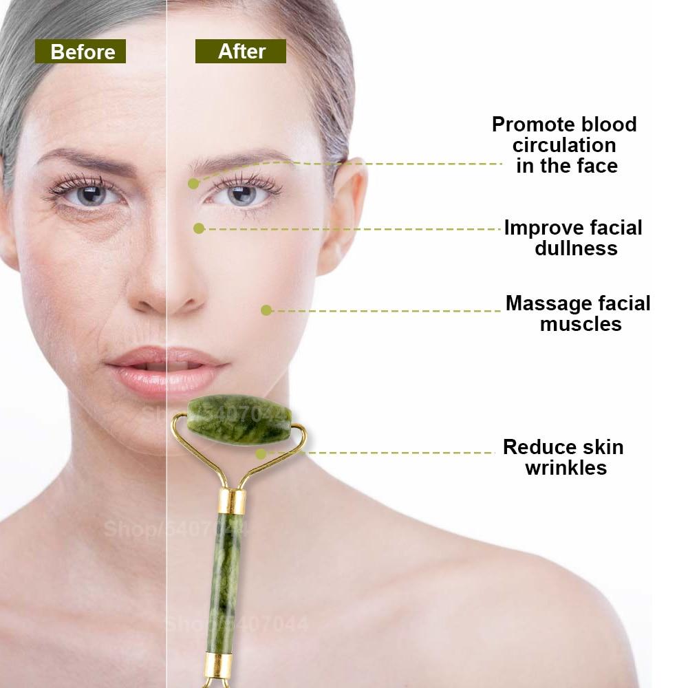 2pcs massageadores de jade para rosto corpo gua sha raspador beleza rolo facial conjunto de pedra natural guache massagem emagrecimento cuidados com a pele lift 3