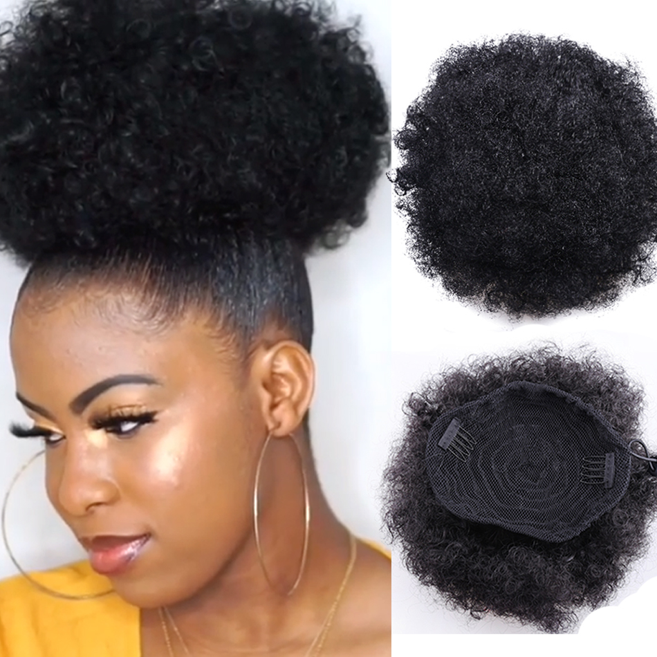 8inch Short Afro Puff Synthetic Hair Bun Chignon Hairpiece For Women Drawstring Ponytail Kinky Curly Updo Clip Hair Extensions