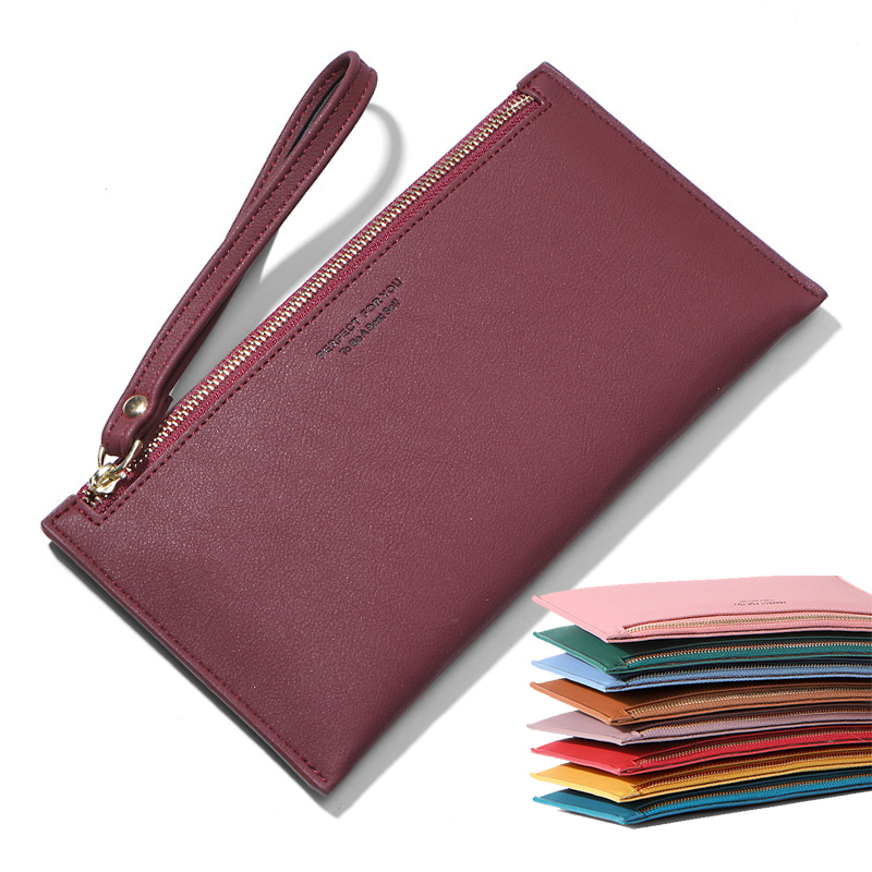 Colorful Wristband Women Long Wallet Simple Female Wallets Clutch Lady Purse Zipper Phone Pocket Card Holder Ladies Carteras NEW