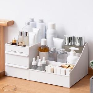 Image 4 - メイクアップオーガナイザー化粧品大容量化粧品収納ボックスオーガナイザーデスクトップジュエリー化粧引き出しコンテナ