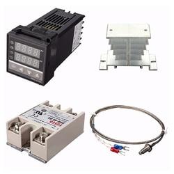 Cyfrowy REX-C100 220V PID regulator temperatury + maks. 40a SSR + K termopara  zestaw kontrolera PID + radiator