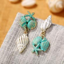 Boho Beach Drop Earring For Women Colorful Shell Conch Starfish Shape Dangle 2019 New Fashion Statement Female Jewelry